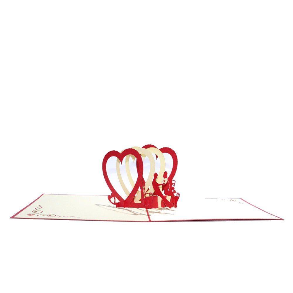 3D-kort med pop up-hjerter