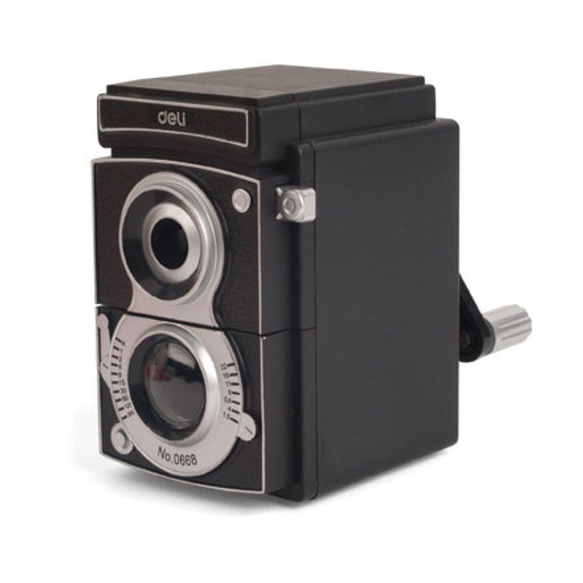 Blyantspidser formet som et gammeldags kamera