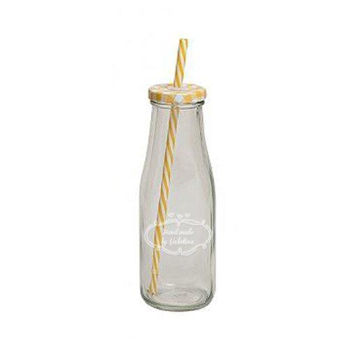 Flaske med sugerør og indgravering