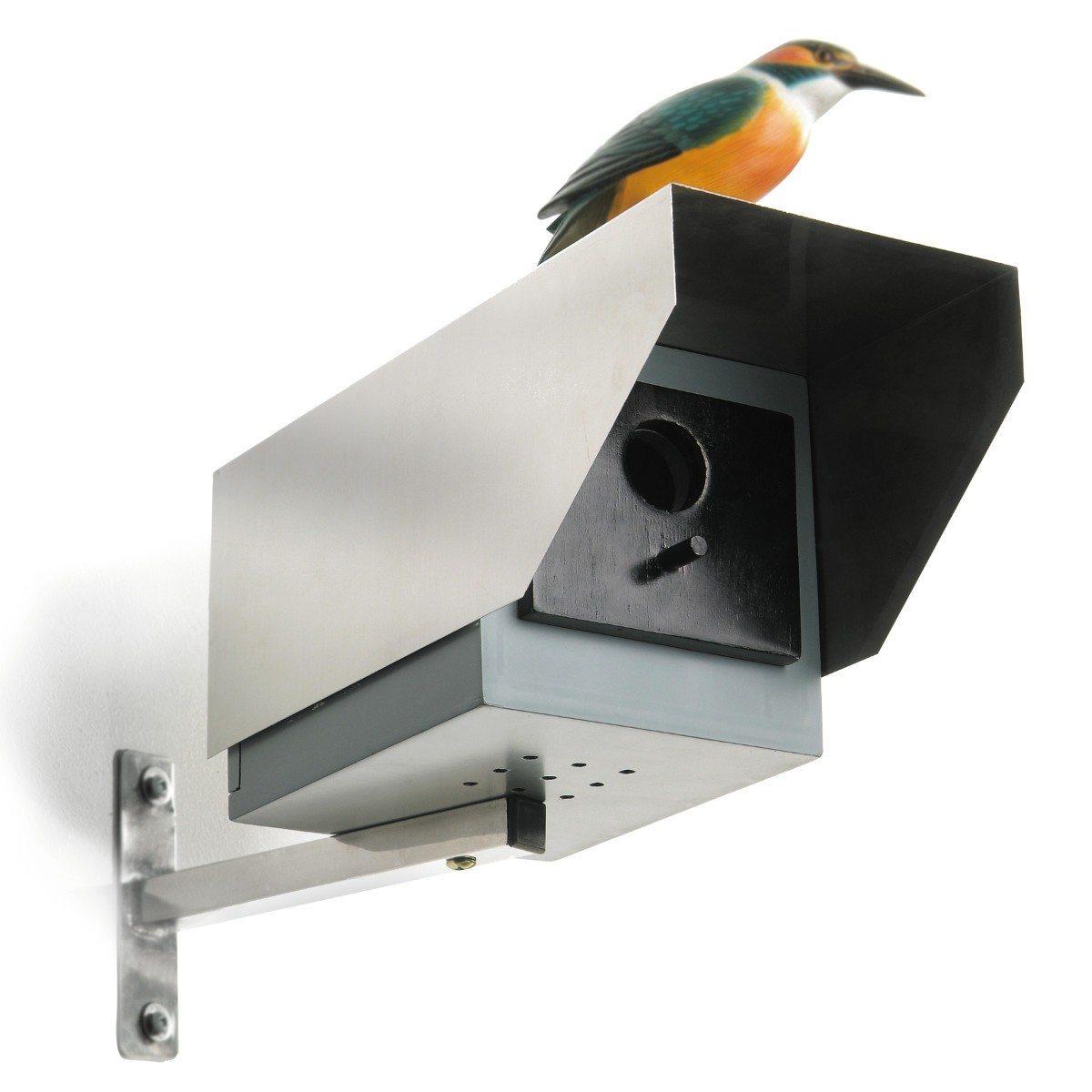 Fuglehus formet som overvågningskamera