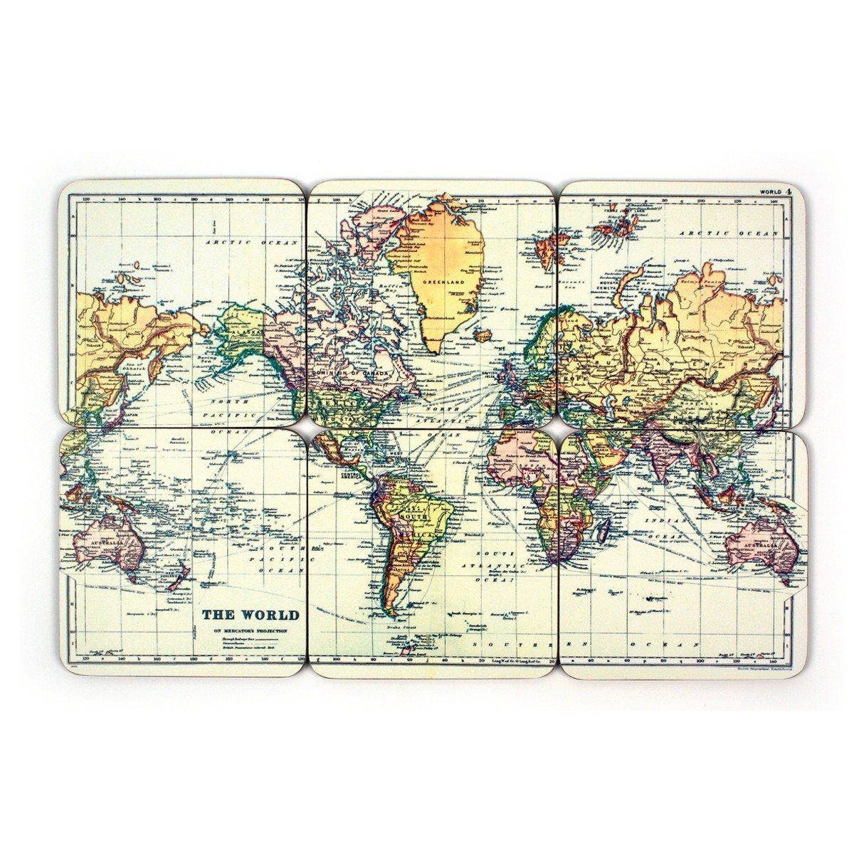 Glasbrikker med verdenskort - sæt med 6