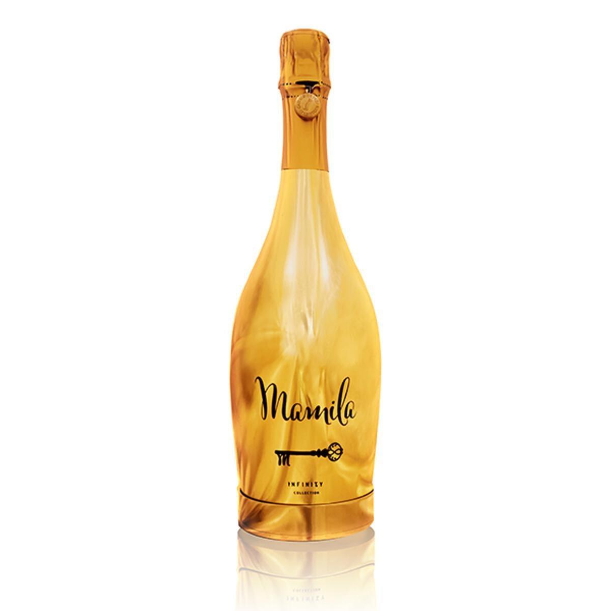 Goldene Sektflasche mit geheimer Schmuckkammer - Vollansicht