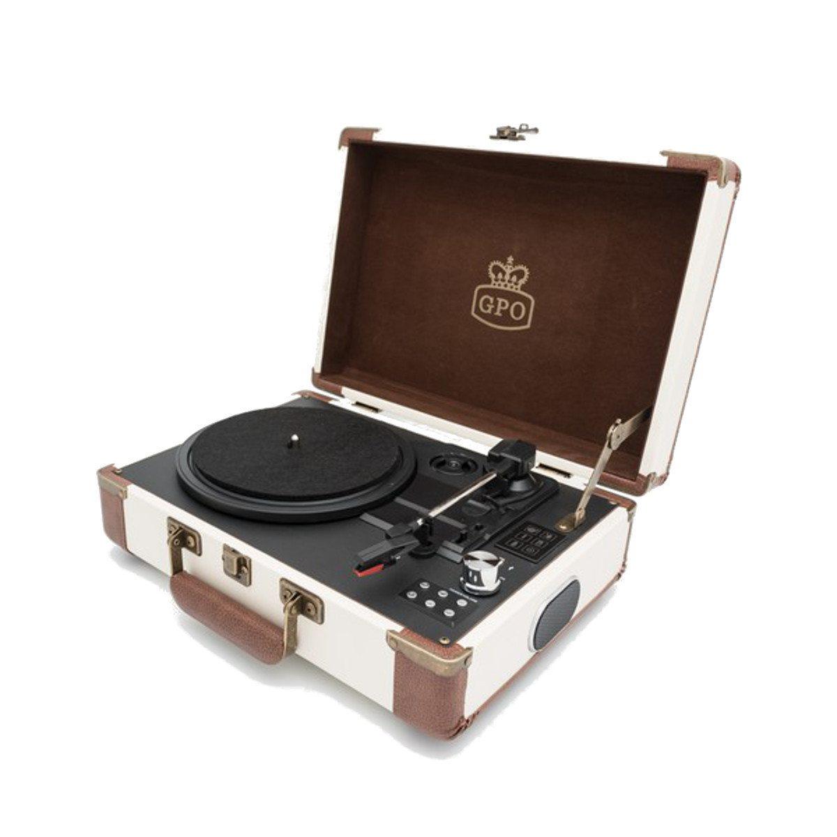 GPO Ambassador - Bluetooth Koffer-Plattenspieler Creme-Karamell