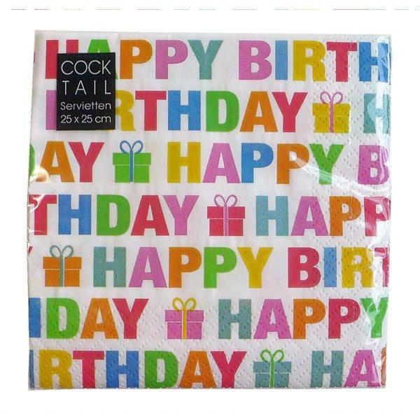 Happy Birthday-servietter