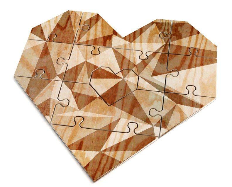 Hjerteformet puslespilskort