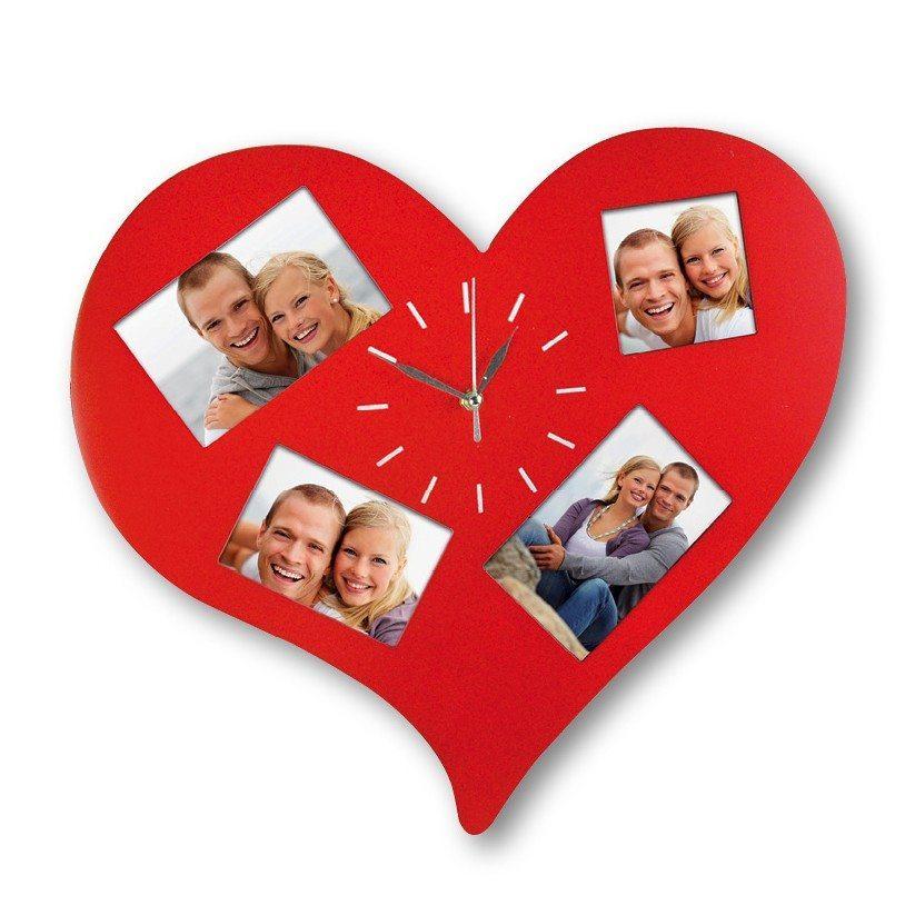 Hjerteformet vægur med plads til billeder