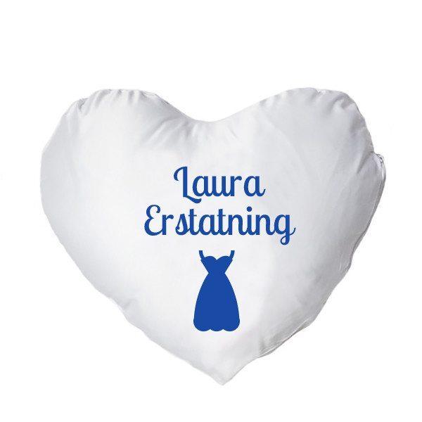 Hjertepude med tryk - blå - kvinde