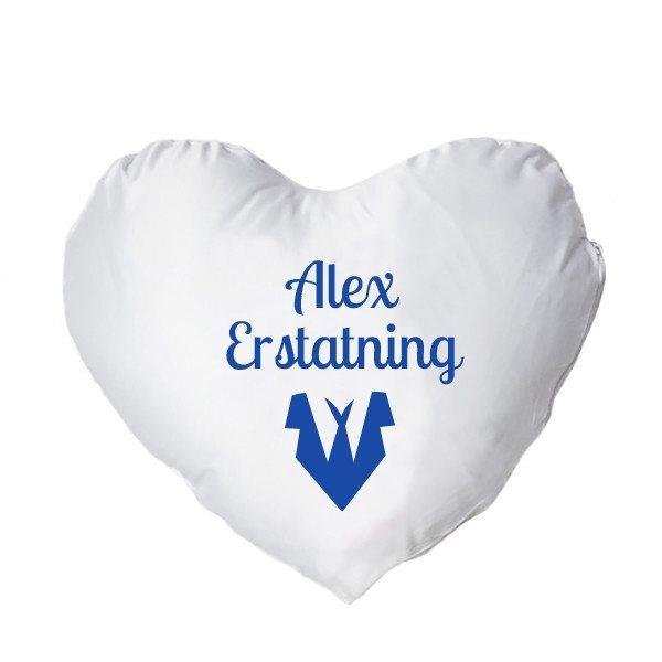 Hjertepude med tryk - blå - mand