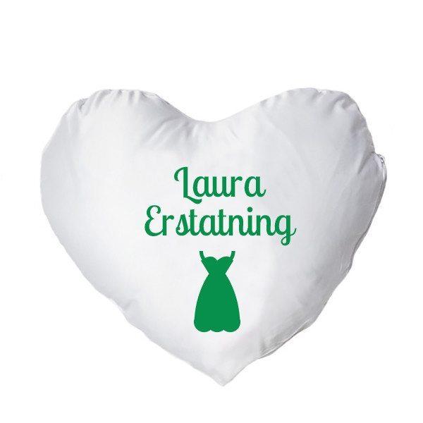 Hjertepude med tryk - grøn - kvinde