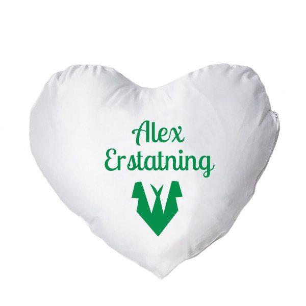 Hjertepude med tryk - grøn - mand