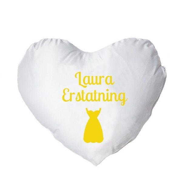 Hjertepude med tryk - gul - kvinde