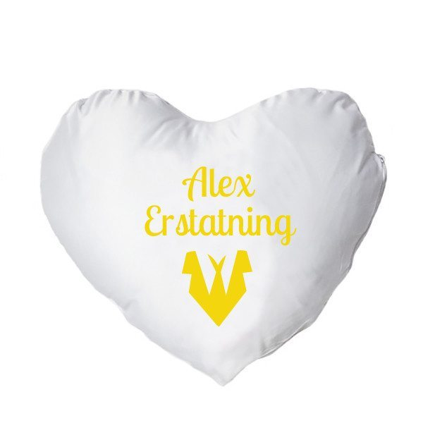 Hjertepude med tryk - gul - mand