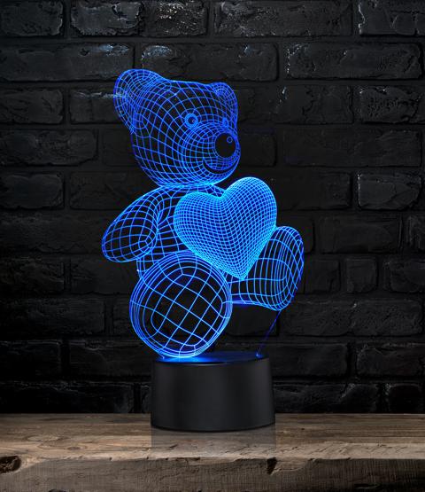 """Kinderzimmerleuchte mit 3D Effekt """"Teddy mit Herz"""""""