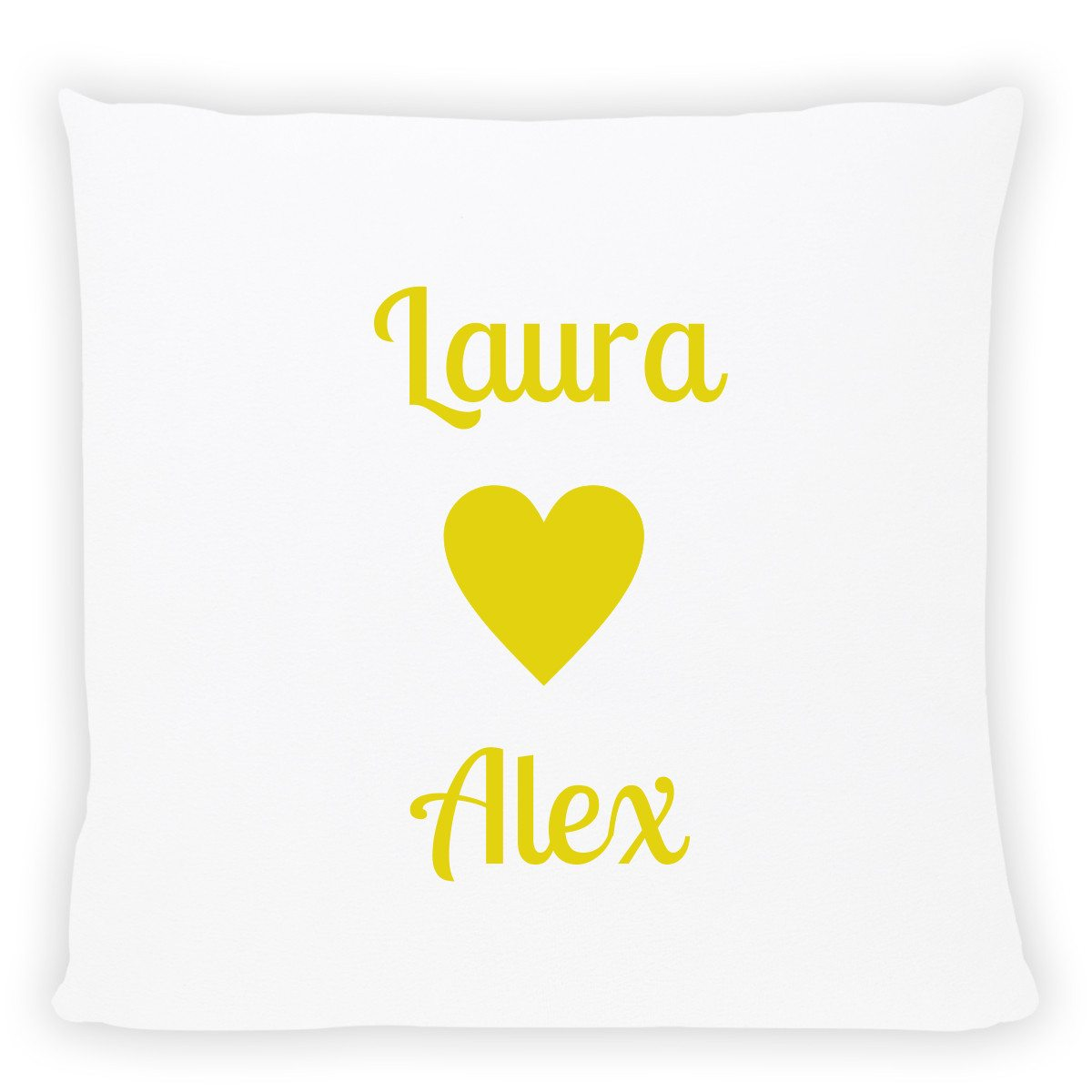 personalized pillow with names yellow