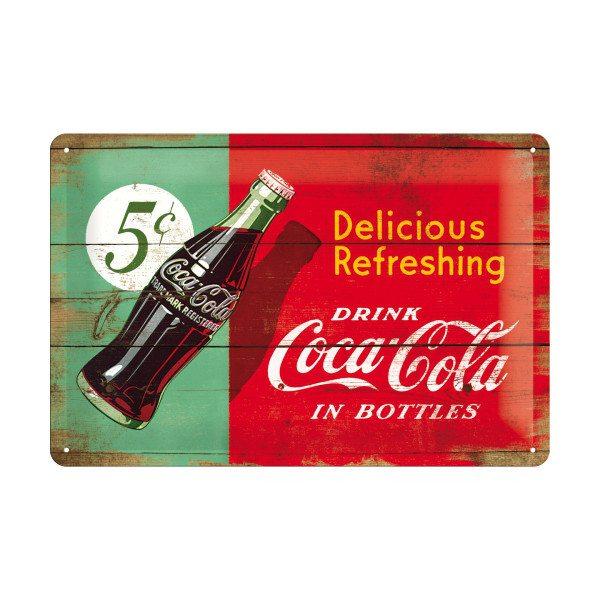 Retro blikskilt med Coca Cola-logo