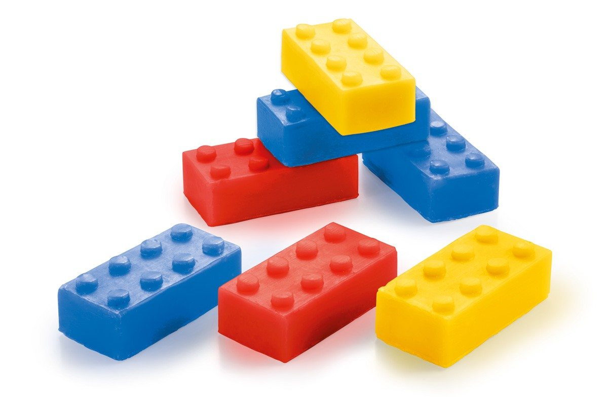 Sæbe formet som byggeklodser