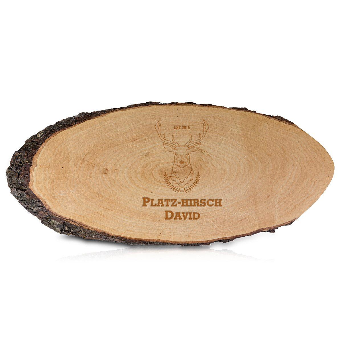 Serveringsbræt af træ med indgravering