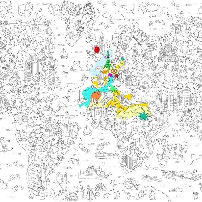 Stor maleplakat med verdenskort