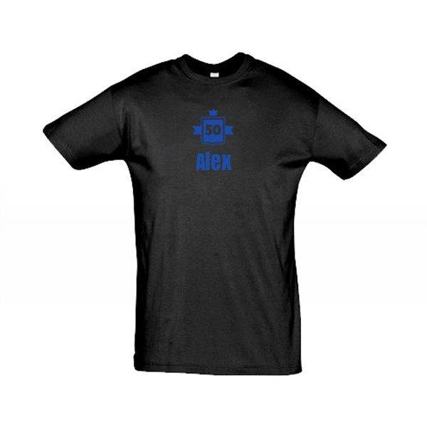 T-shirt til mænd med våbenskjold og tekst