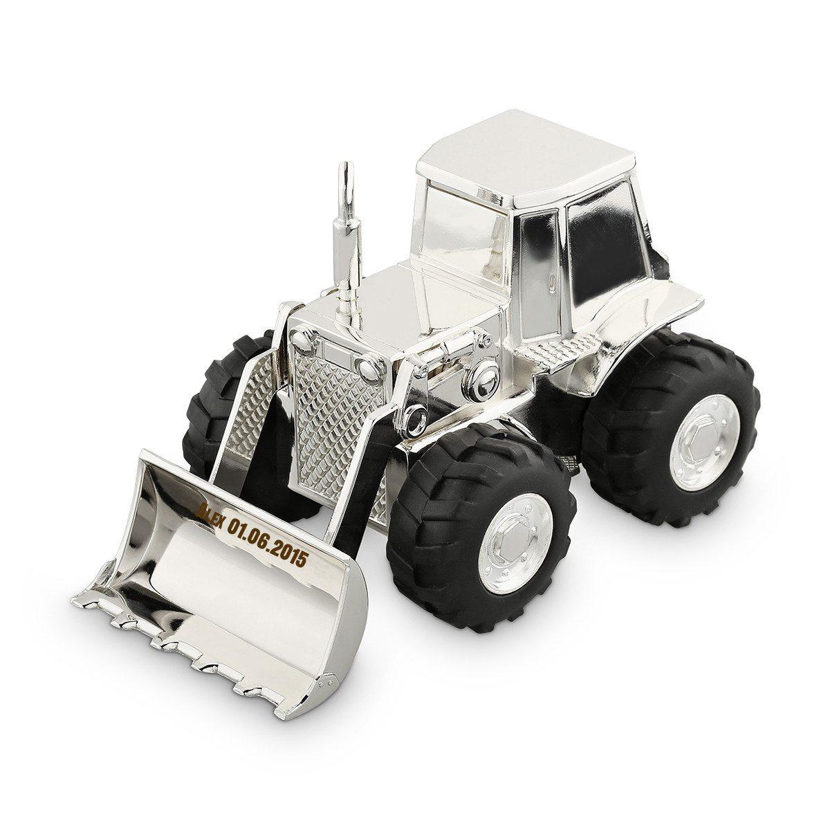 Traktorformet sparekrukke med indgravering