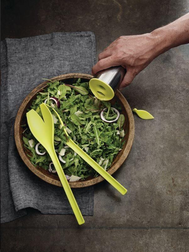 Tulipanformet salatbestik og dressingshaker