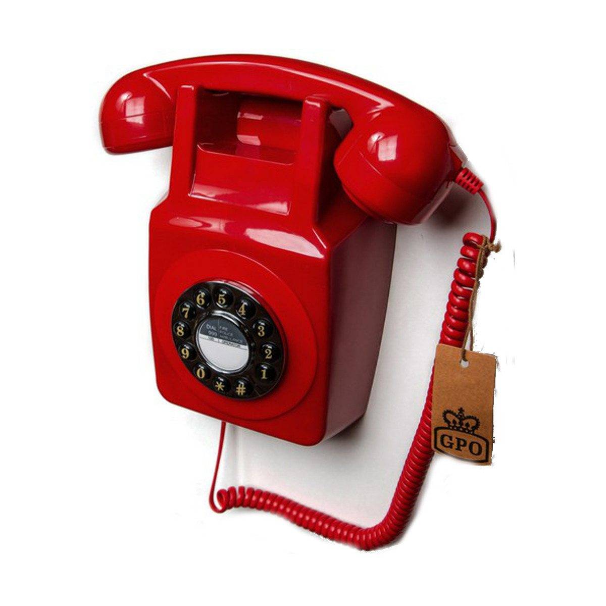 Wandtelefon im 70er Design Rot