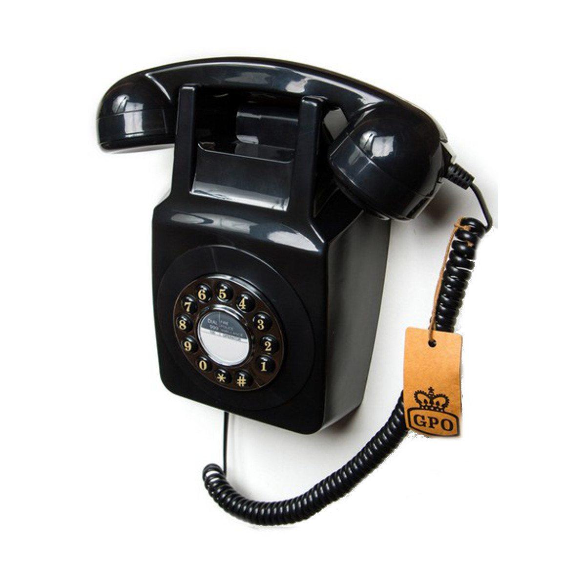 Wandtelefon im 70er Design Schwarz