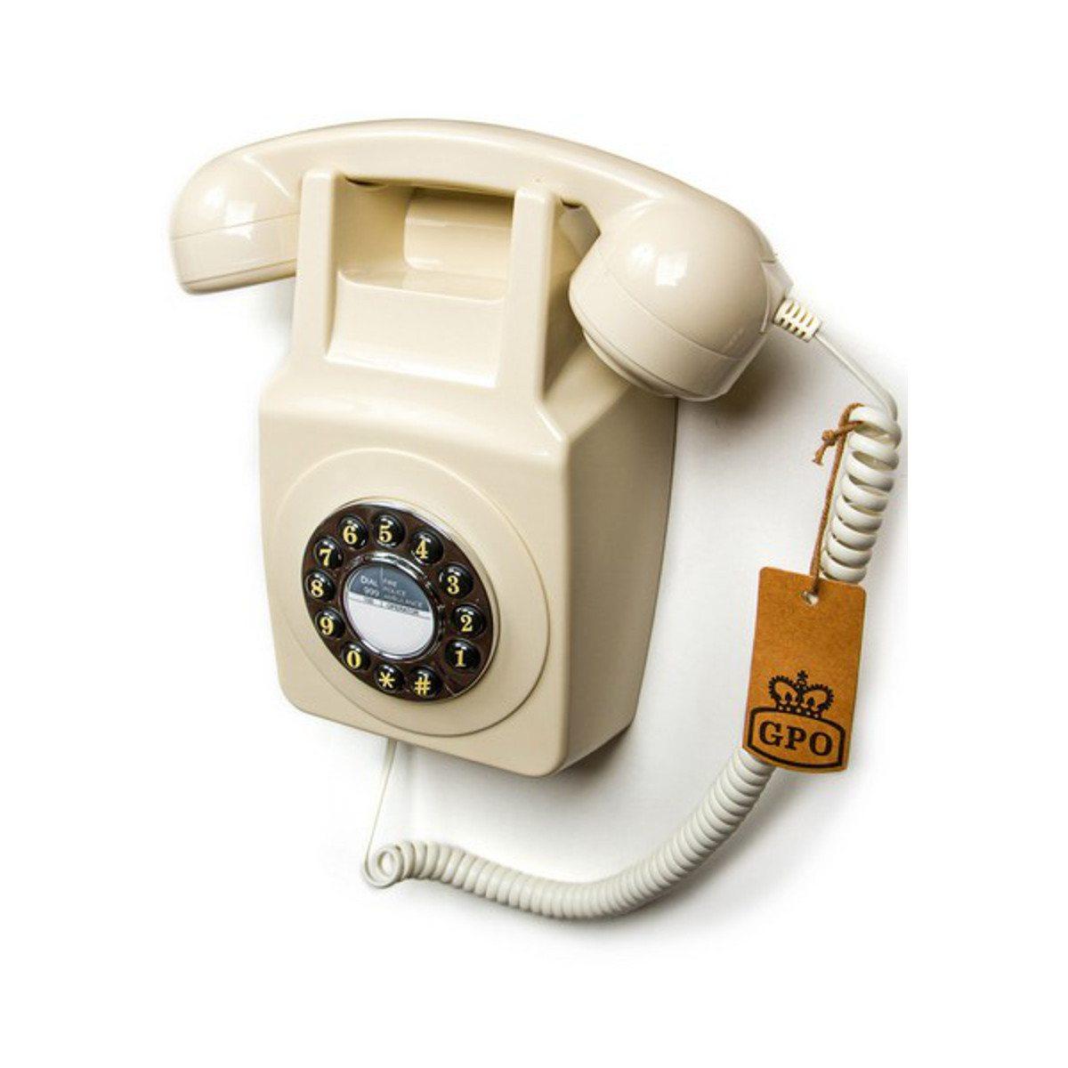 Wandtelefon im 70er Design Weiß