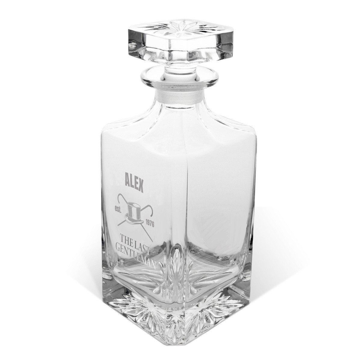 Whiskykaraffel i krystalglas med indgravering