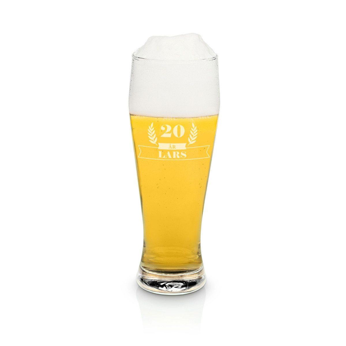 Stort indgraveret ølglas - segl