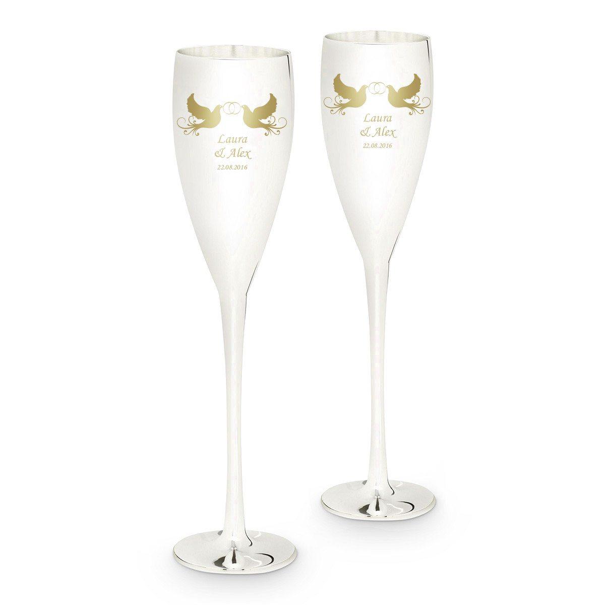Forsølvede champagneglas med indgravering