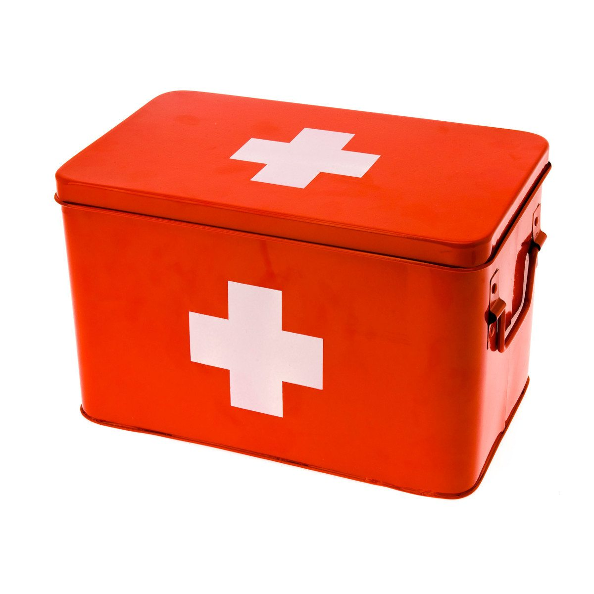 Førstehjælpskasse med hvidt kors motiv | Gaveideer.dk