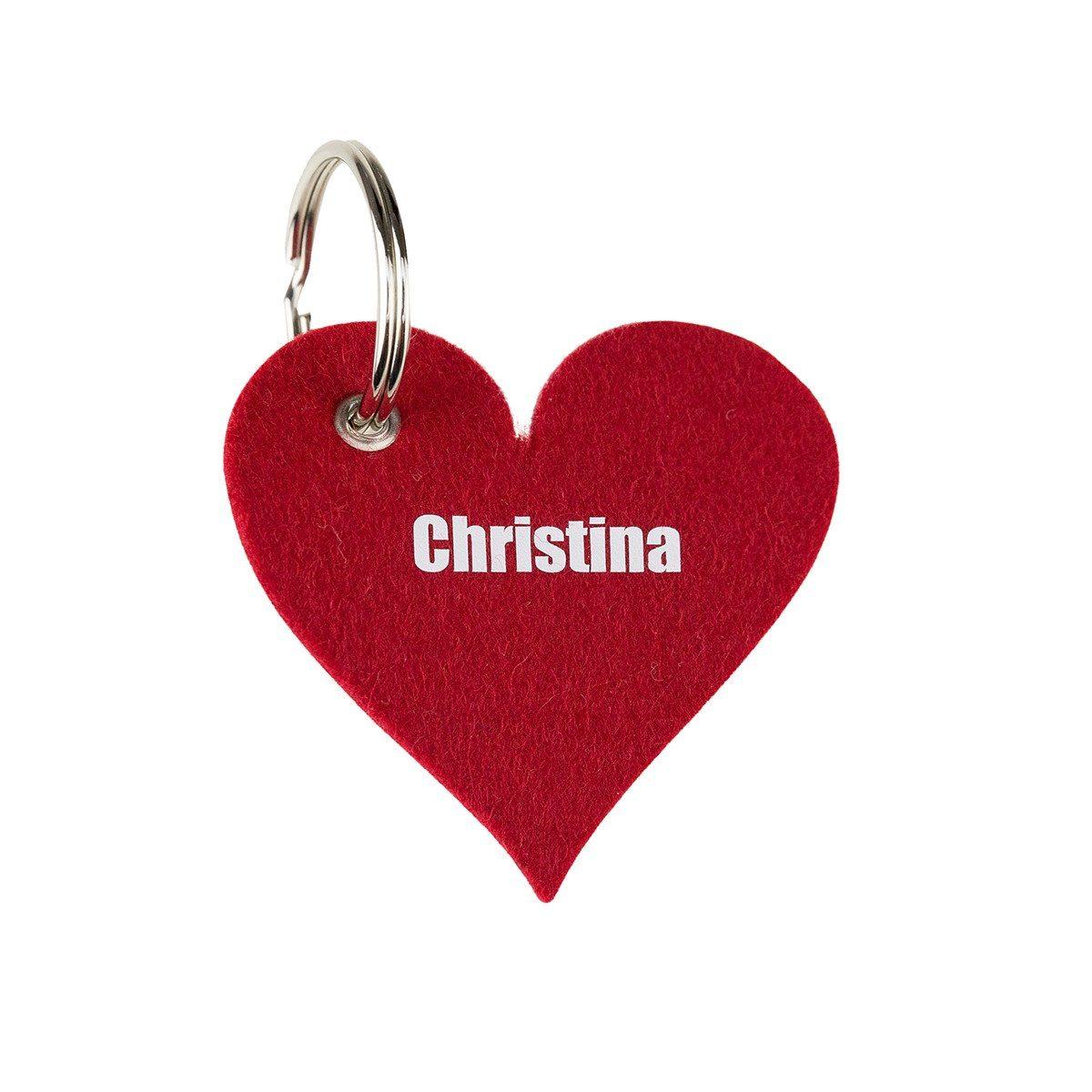 Hjerteformet filtnøglering med navn