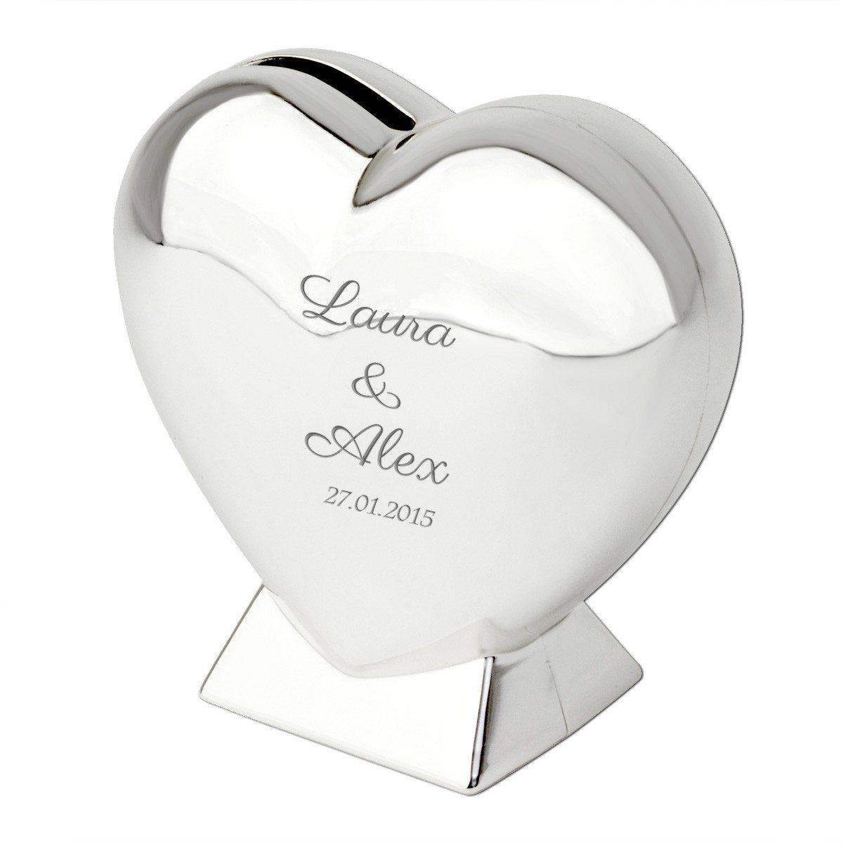 Hjerteformet sparekrukke med indgravering