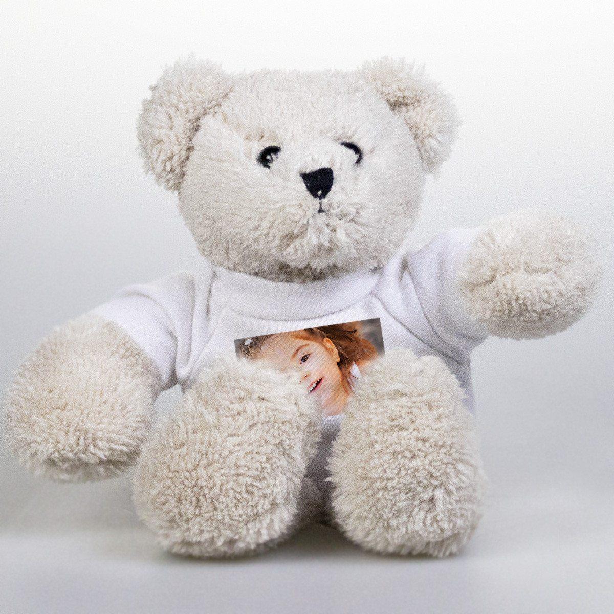 Hvid bamse med fotobluse