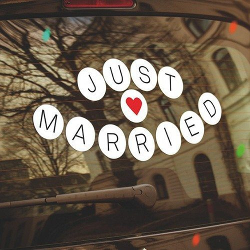 """Just married""-klistermærke til bilen"