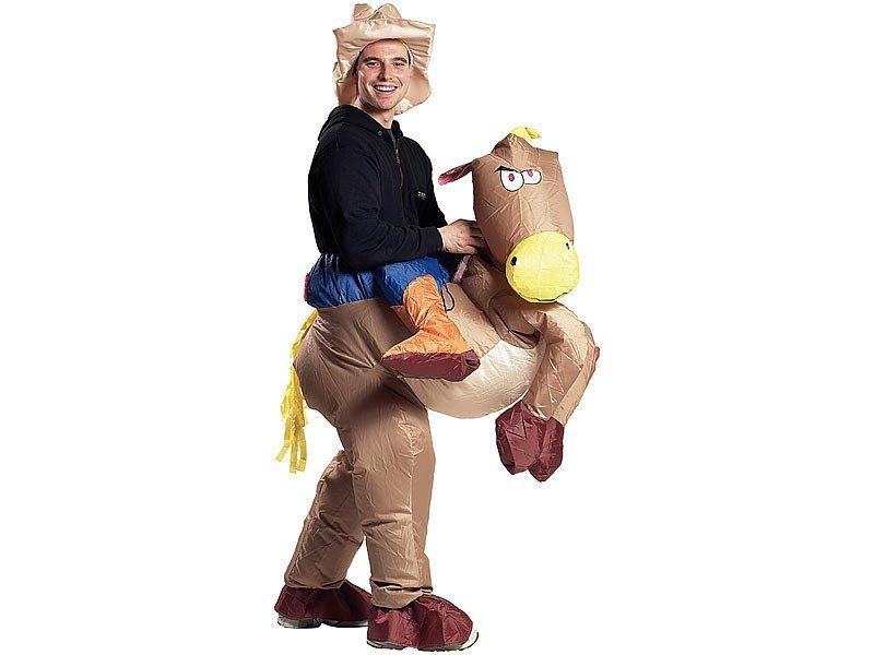 Oppusteligt cowboykostume med hest