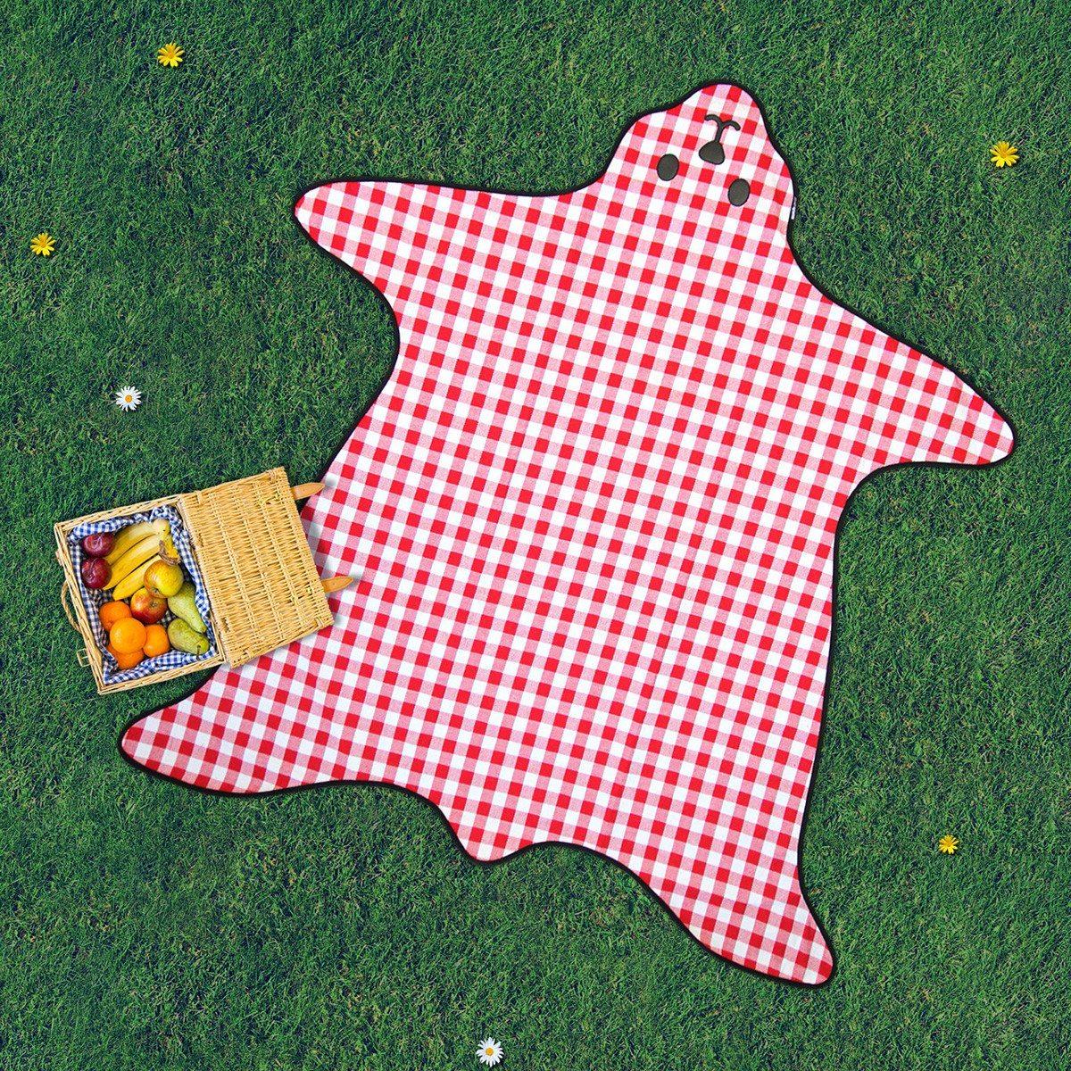 Picnictæppe formet som en bjørn