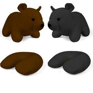2-i-1 Rejse- og nakkepude formet som en bjørn
