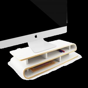 2i1: monitorholder og skrivebordsorganizer
