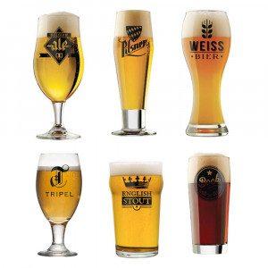 Alverdens ølglas - sæt med seks styk