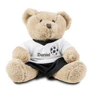 Bamse med fodboldtøje og navn