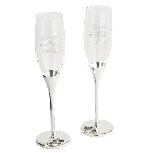 Champagneglas med krystalsten og indgravering