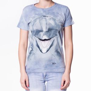 Dame t-shirt med delfinmotiv