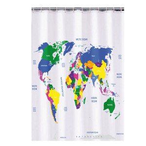 Duschvorhang Weltkarte