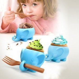Elefant-cupcakeform med gaffel