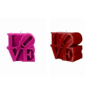Stearinlys med kærlighedstema