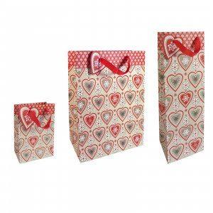 Gavepose med julehjerter