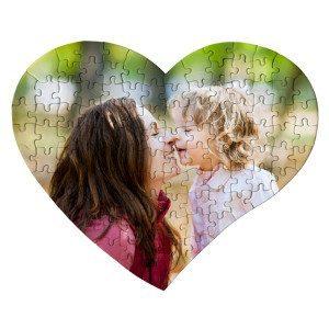 Hjerteformet puslespil med foto