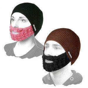 Hue med strikket skæg